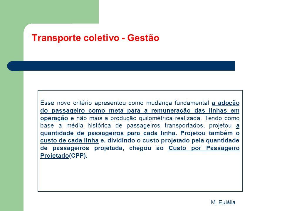 M. Eulália Transporte coletivo - Gestão Esse novo critério apresentou como mudança fundamental a adoção do passageiro como meta para a remuneração das