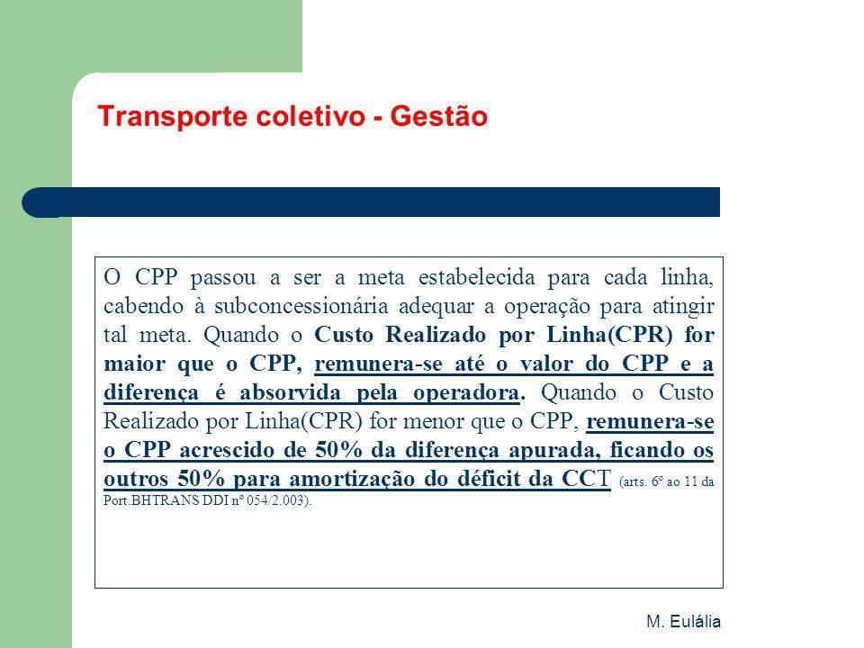 M. Eulália Transporte coletivo - Gestão O CPP passou a ser a meta estabelecida para cada linha, cabendo à subconcessionária adequar a operação para at