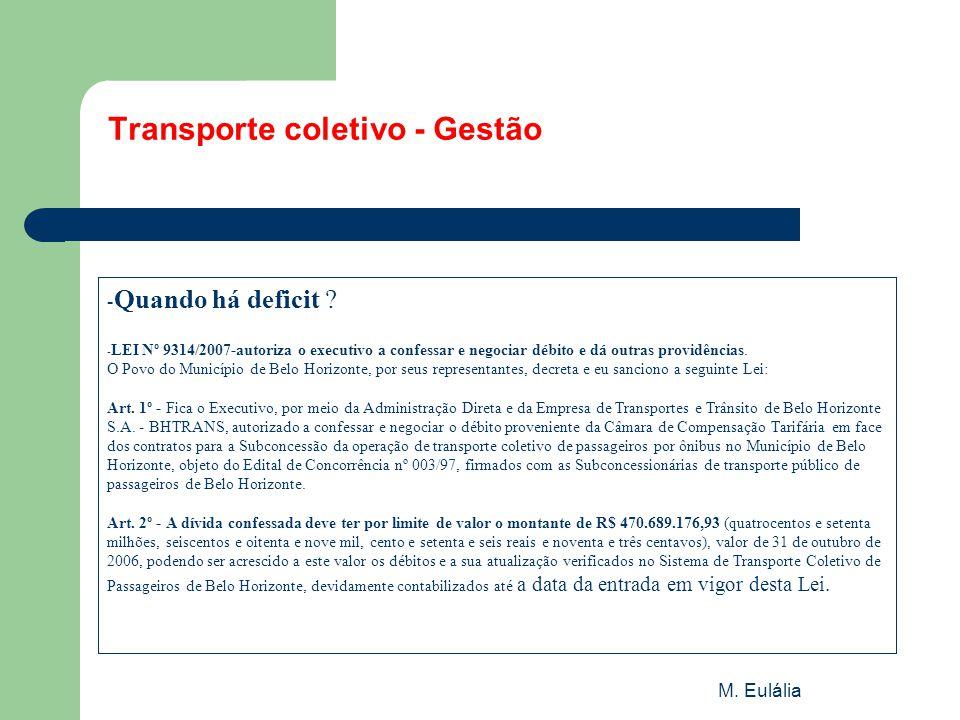 M. Eulália Transporte coletivo - Gestão - Quando há deficit ? - LEI Nº 9314/2007-autoriza o executivo a confessar e negociar débito e dá outras provid