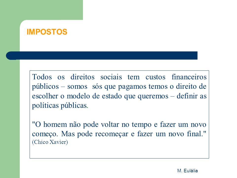 M. Eulália IMPOSTOS Todos os direitos sociais tem custos financeiros públicos – somos sós que pagamos temos o direito de escolher o modelo de estado q