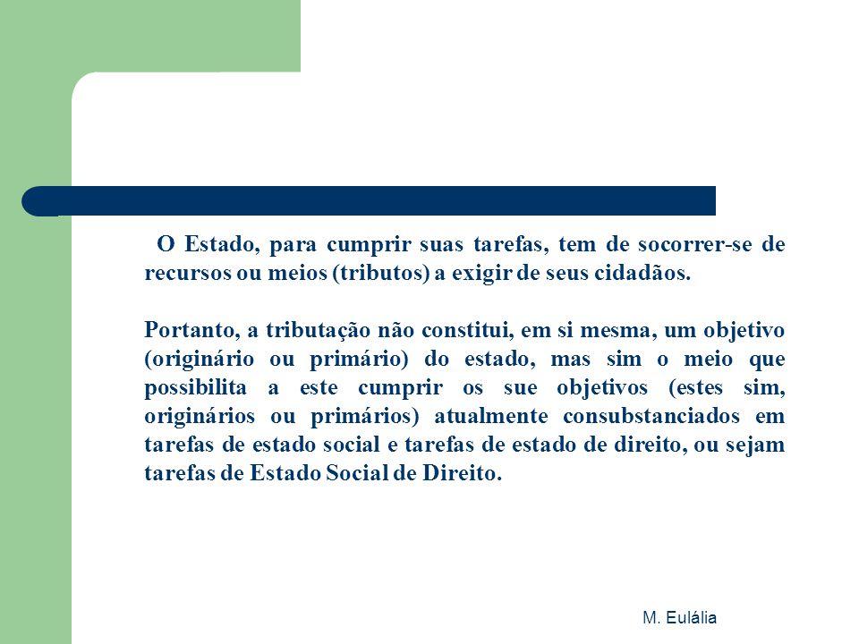 M. Eulália O Estado, para cumprir suas tarefas, tem de socorrer-se de recursos ou meios (tributos) a exigir de seus cidadãos. Portanto, a tributação n