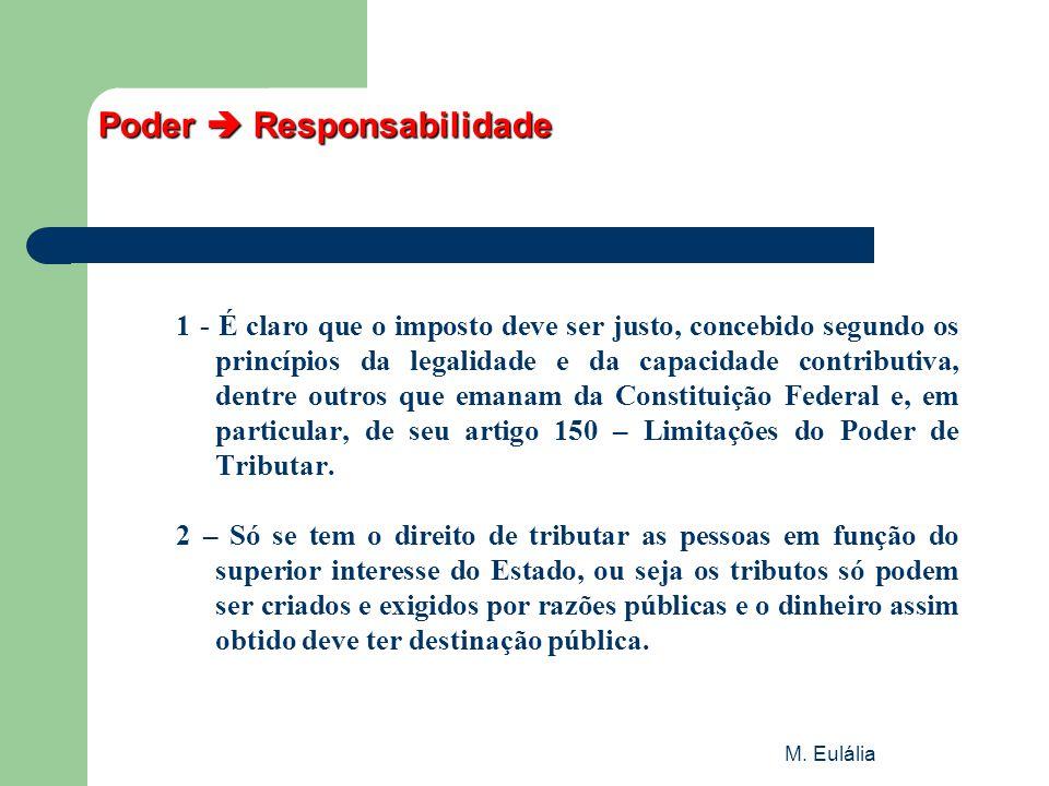 M. Eulália Poder  Responsabilidade 1 - É claro que o imposto deve ser justo, concebido segundo os princípios da legalidade e da capacidade contributi