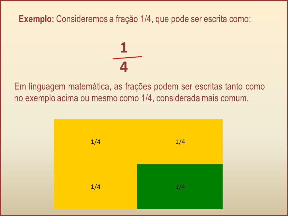 Exemplo: Consideremos a fração 1/4, que pode ser escrita como: 1414 Em linguagem matemática, as frações podem ser escritas tanto como no exemplo acima
