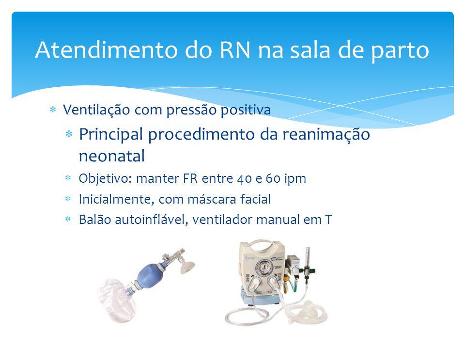  Ventilação com pressão positiva  Principal procedimento da reanimação neonatal  Objetivo: manter FR entre 40 e 60 ipm  Inicialmente, com máscara