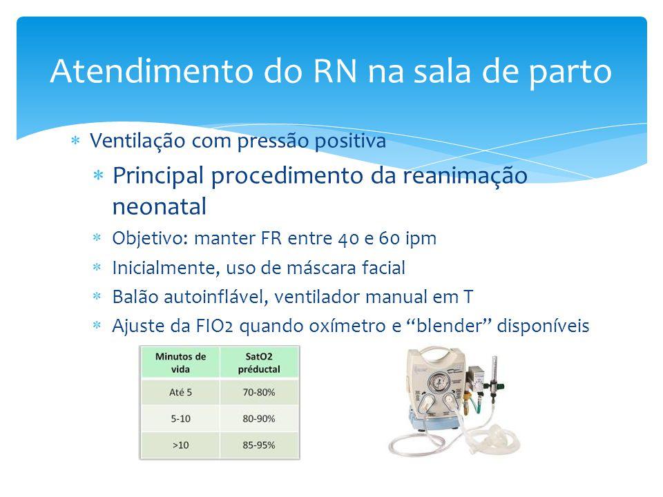  Ventilação com pressão positiva  Principal procedimento da reanimação neonatal  Objetivo: manter FR entre 40 e 60 ipm  Inicialmente, uso de másca