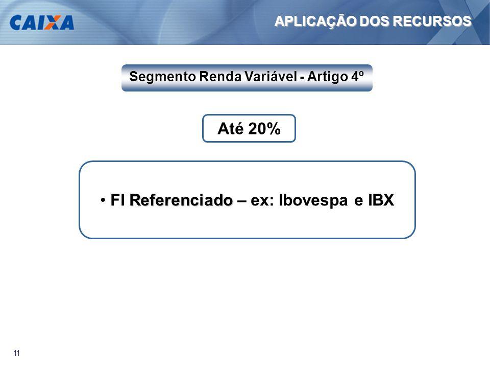 11 Referenciado • FI Referenciado – ex: Ibovespa e IBX Até 20% Segmento Renda Variável - Artigo 4º APLICAÇÃO DOS RECURSOS
