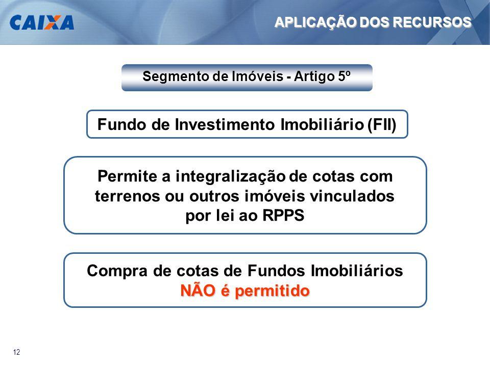 12 Fundo de Investimento Imobiliário (FII) Permite a integralização de cotas com terrenos ou outros imóveis vinculados por lei ao RPPS Compra de cotas