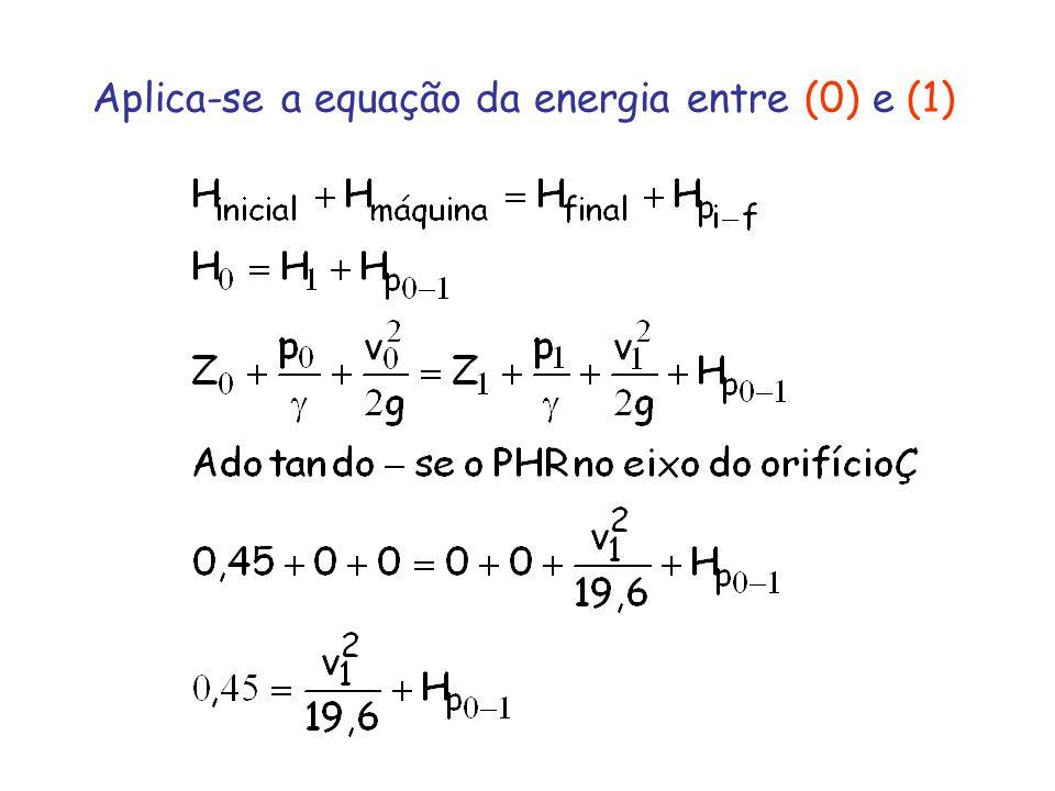 Aplica-se a equação da energia entre (0) e (1)