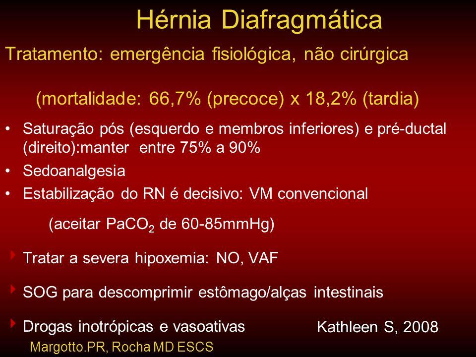 Tratamento: emergência fisiológica, não cirúrgica (mortalidade: 66,7% (precoce) x 18,2% (tardia) •Saturação pós (esquerdo e membros inferiores) e pré-