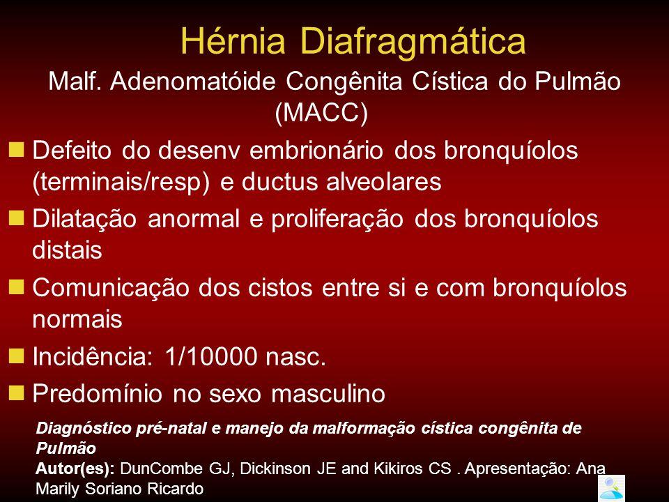 Malf. Adenomatóide Congênita Cística do Pulmão (MACC)  Defeito do desenv embrionário dos bronquíolos (terminais/resp) e ductus alveolares  Dilatação