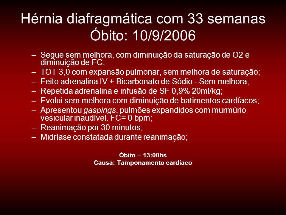 Hérnia diafragmática com 33 semanas Óbito: 10/9/2006 –Segue sem melhora, com diminuição da saturação de O2 e diminuição de FC; –TOT 3,0 com expansão p