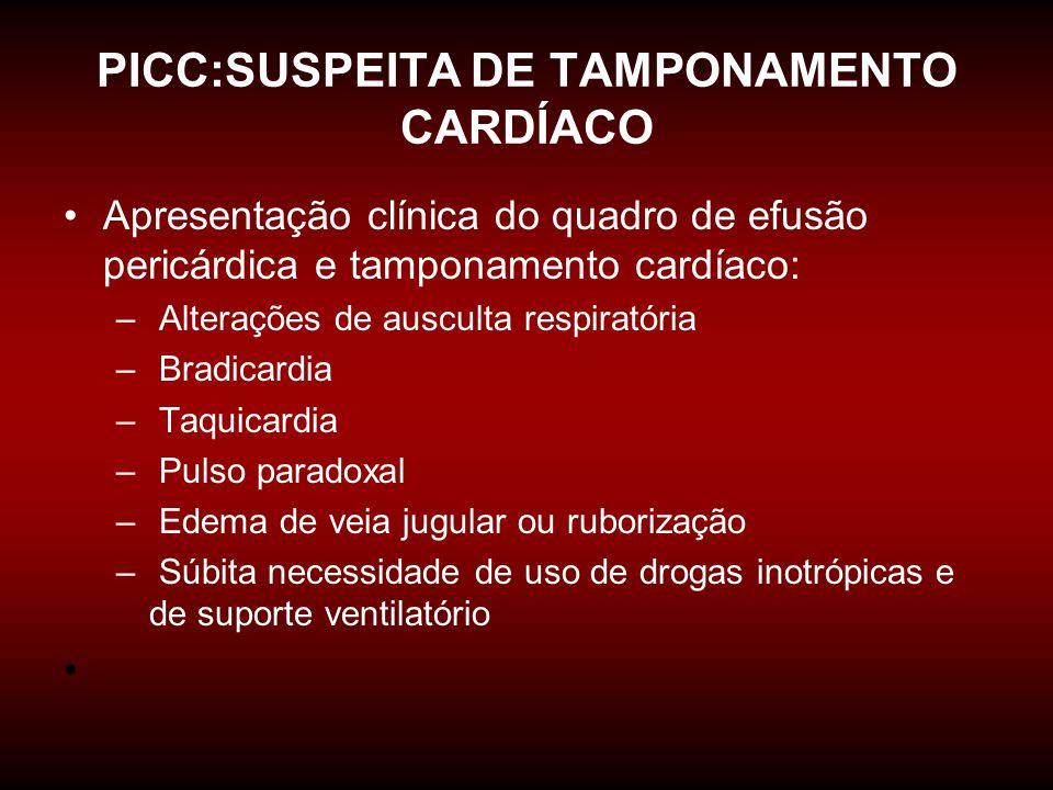 PICC:SUSPEITA DE TAMPONAMENTO CARDÍACO •Apresentação clínica do quadro de efusão pericárdica e tamponamento cardíaco: – Alterações de ausculta respira