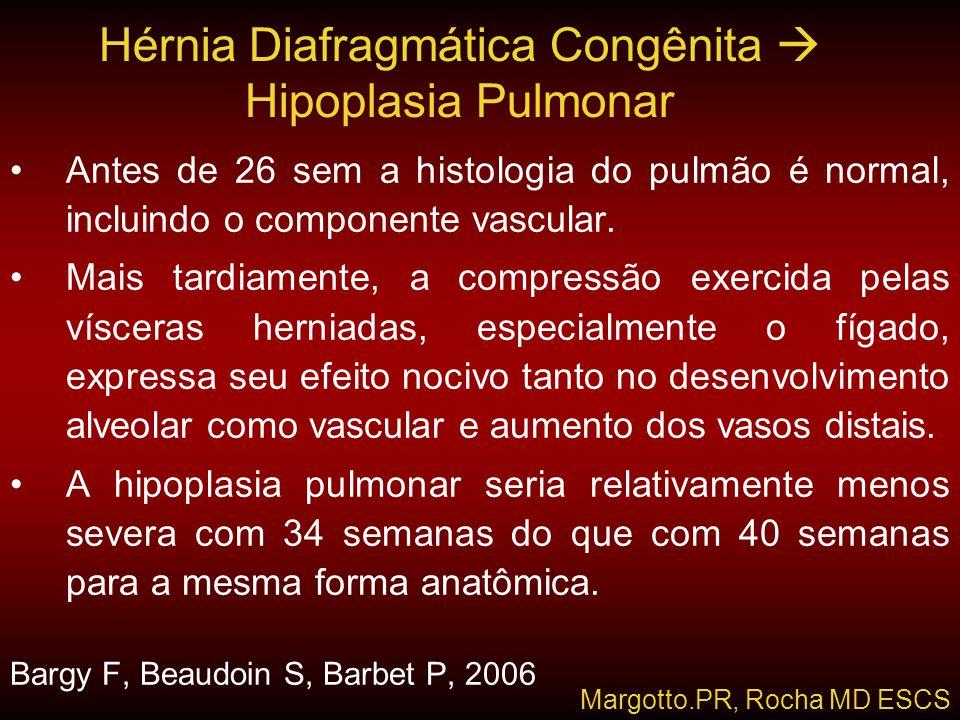 Hérnia Diafragmática Congênita  Hipoplasia Pulmonar •Antes de 26 sem a histologia do pulmão é normal, incluindo o componente vascular. •Mais tardiame