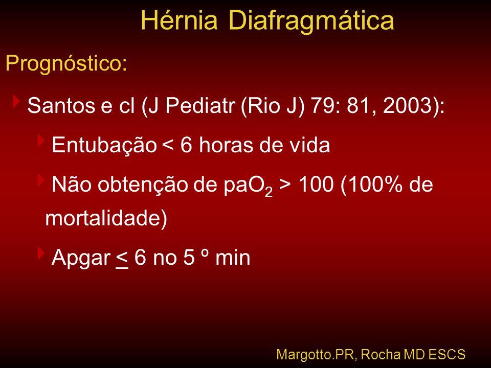 Prognóstico:  Santos e cl (J Pediatr (Rio J) 79: 81, 2003):  Entubação < 6 horas de vida  Não obtenção de paO 2 > 100 (100% de mortalidade)  Apgar