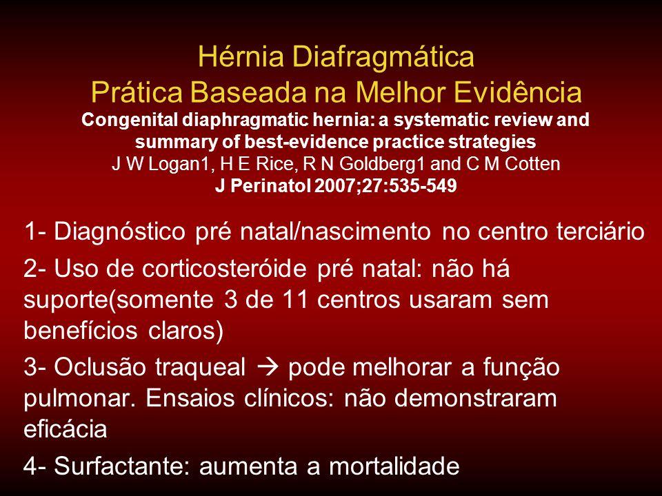 Hérnia Diafragmática Prática Baseada na Melhor Evidência Congenital diaphragmatic hernia: a systematic review and summary of best-evidence practice st