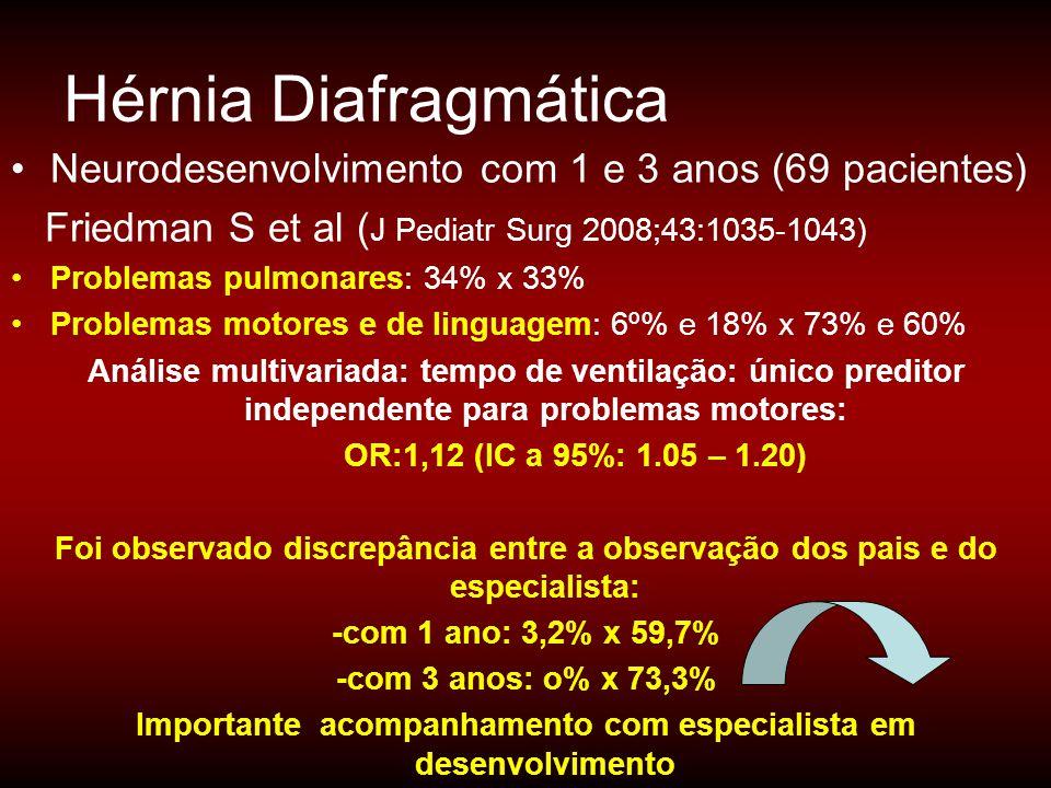 •Neurodesenvolvimento com 1 e 3 anos (69 pacientes) Friedman S et al ( J Pediatr Surg 2008;43:1035-1043) •Problemas pulmonares: 34% x 33% •Problemas m