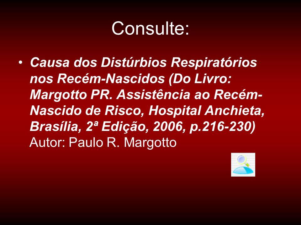 Consulte: •Causa dos Distúrbios Respiratórios nos Recém-Nascidos (Do Livro: Margotto PR. Assistência ao Recém- Nascido de Risco, Hospital Anchieta, Br