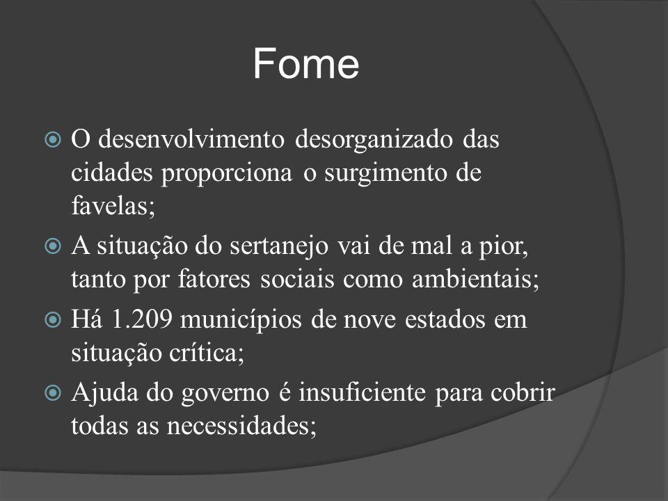 Fome  O desenvolvimento desorganizado das cidades proporciona o surgimento de favelas;  A situação do sertanejo vai de mal a pior, tanto por fatores