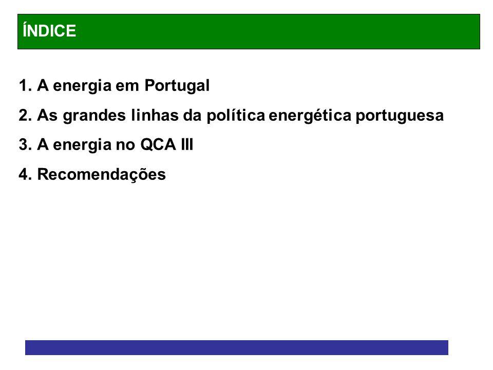 1.A energia em Portugal 2.As grandes linhas da política energética portuguesa 3.A energia no QCA III 4.Recomendações ÍNDICE