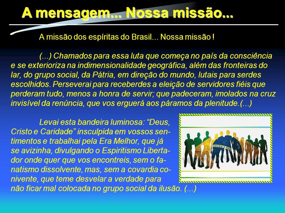 A missão dos espíritas do Brasil... Nossa missão ! (...) Chamados para essa luta que começa no país da consciência e se exterioriza na indimensionalid