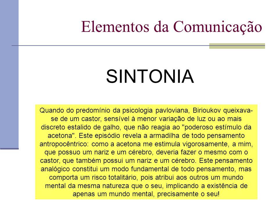 Elementos da Comunicação SINTONIA Quando do predomínio da psicologia pavloviana, Birioukov queixava- se de um castor, sensível à menor variação de luz ou ao mais discreto estalido de galho, que não reagia ao poderoso estímulo da acetona .