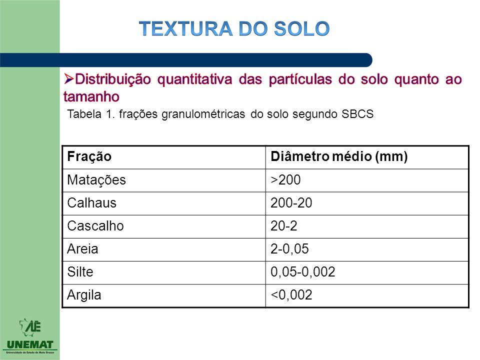 FraçãoDiâmetro médio (mm) Matações>200 Calhaus200-20 Cascalho20-2 Areia2-0,05 Silte0,05-0,002 Argila<0,002 Tabela 1. frações granulométricas do solo s