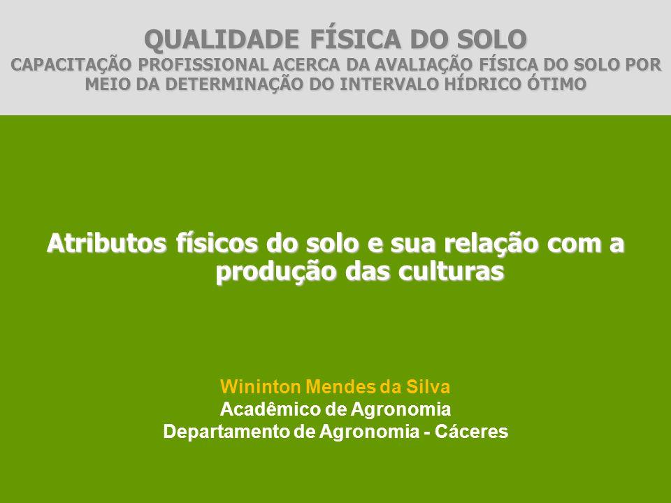 CLASSE TEXTURALDENSIDADE DO SOLO (g cm-3) Arenoso1,3-1,6 Siltoso1,1-1,5 Argiloso0,9-1,1 Valores médios de densidade do solo para as principais classes texturais dos solos Brasileiros.