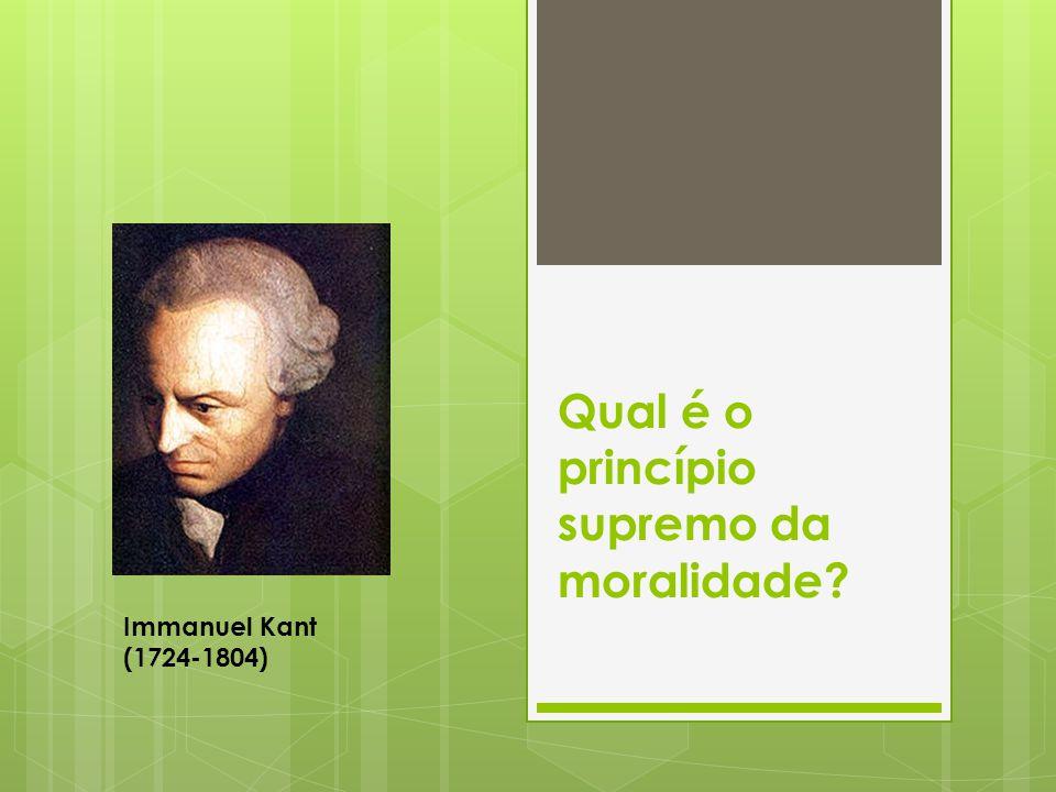 Immanuel Kant, na Fundamentação da Metafísica dos Costumes, levanta duas questões principais: 1) Qual é o princípio supremo da moralidade.