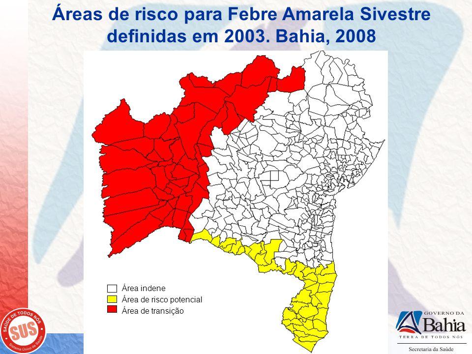 Áreas de risco para Febre Amarela Sivestre definidas em 2003. Bahia, 2008 Área indene Área de risco potencial Área de transição