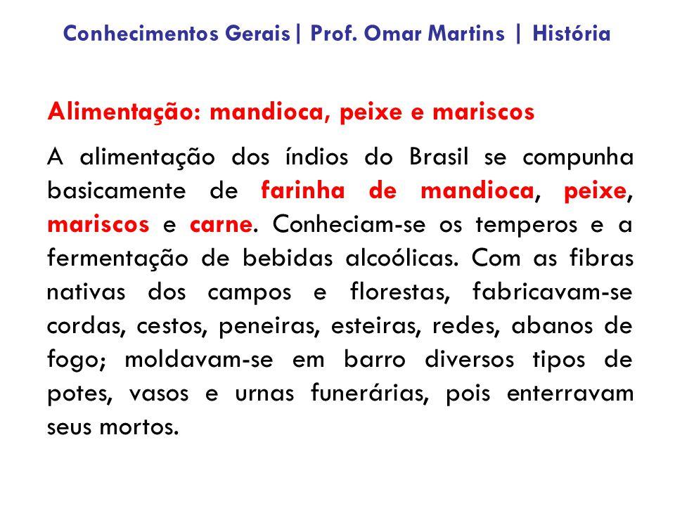 Alimentação: mandioca, peixe e mariscos A alimentação dos índios do Brasil se compunha basicamente de farinha de mandioca, peixe, mariscos e carne. Co