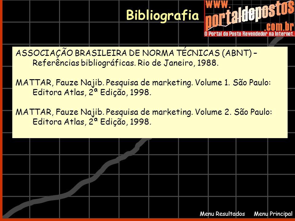 Bibliografia Menu PrincipalMenu Resultados ASSOCIAÇÃO BRASILEIRA DE NORMA TÉCNICAS (ABNT) – Referências bibliográficas. Rio de Janeiro, 1988. MATTAR,