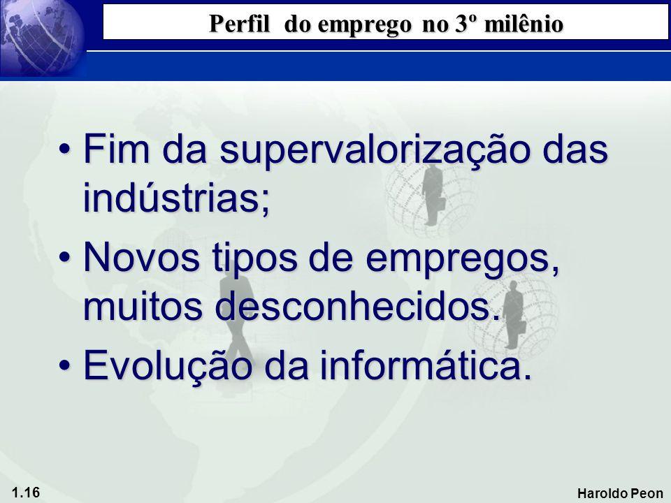 1.16 Haroldo Peon Perfil do emprego no 3º milênio •Fim da supervalorização das indústrias; •Novos tipos de empregos, muitos desconhecidos. •Evolução d