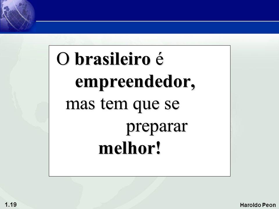 1.19 Haroldo Peon O brasileiro é empreendedor, mas tem que se preparar melhor! O brasileiro é empreendedor, mas tem que se preparar melhor!