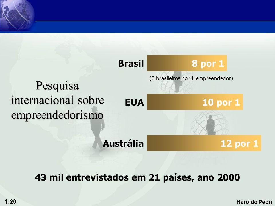 1.20 Haroldo Peon Pesquisa internacional sobre empreendedorismo 8 por 1 10 por 1 12 por 1 43 mil entrevistados em 21 países, ano 2000 Brasil EUA Austr