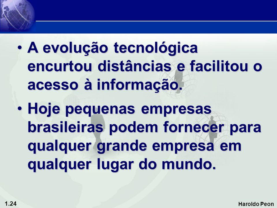 1.24 Haroldo Peon •A evolução tecnológica encurtou distâncias e facilitou o acesso à informação. •Hoje pequenas empresas brasileiras podem fornecer pa