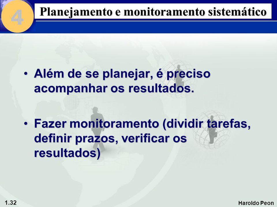 1.32 Haroldo Peon Planejamento e monitoramento sistemático •Além de se planejar, é preciso acompanhar os resultados. •Fazer monitoramento (dividir tar