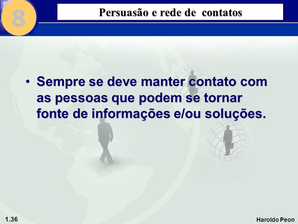 1.36 Haroldo Peon Persuasão e rede de contatos •Sempre se deve manter contato com as pessoas que podem se tornar fonte de informações e/ou soluções. 8