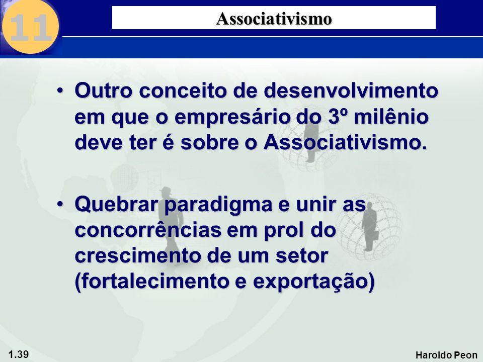 1.39 Haroldo Peon Associativismo •Outro conceito de desenvolvimento em que o empresário do 3º milênio deve ter é sobre o Associativismo. •Quebrar para