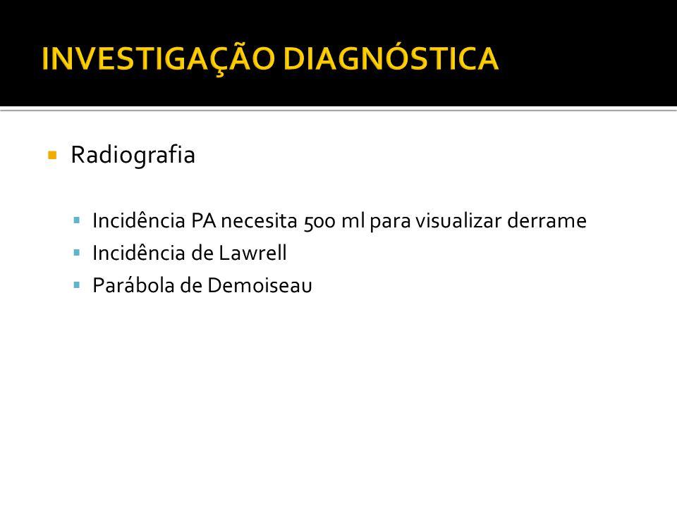  Radiografia  Incidência PA necesita 500 ml para visualizar derrame  Incidência de Lawrell  Parábola de Demoiseau