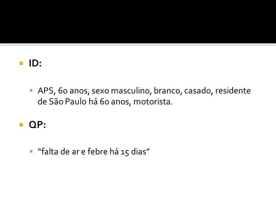  ID:  APS, 60 anos, sexo masculino, branco, casado, residente de São Paulo há 60 anos, motorista.