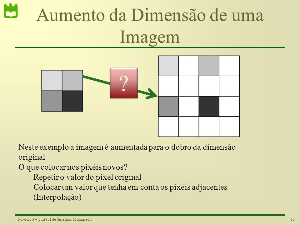 """12Módulo 3 – parte II de Sistemas Multimédia Re-amostragem •É muito frequente a resolução da imagem não coincidir com a resolução do """"display"""" pelo qu"""