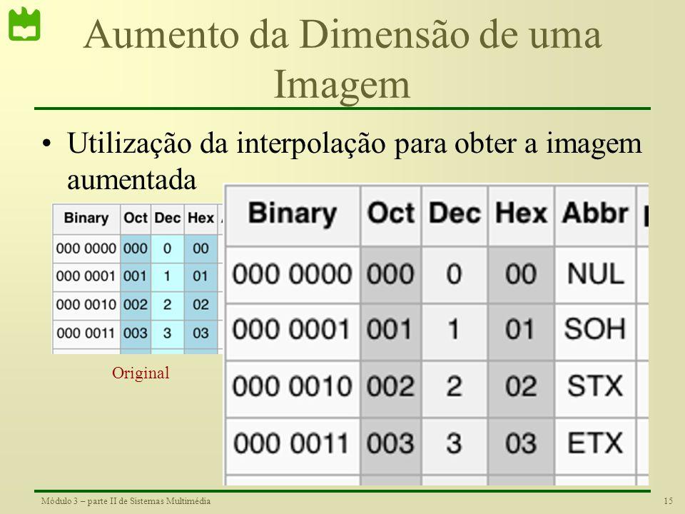 14Módulo 3 – parte II de Sistemas Multimédia Aumento da Dimensão de uma Imagem •Repetição do valor dos pixéis Original