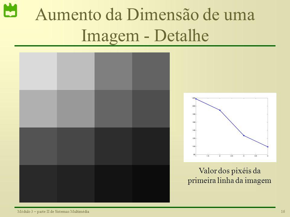 15Módulo 3 – parte II de Sistemas Multimédia Aumento da Dimensão de uma Imagem •Utilização da interpolação para obter a imagem aumentada Original