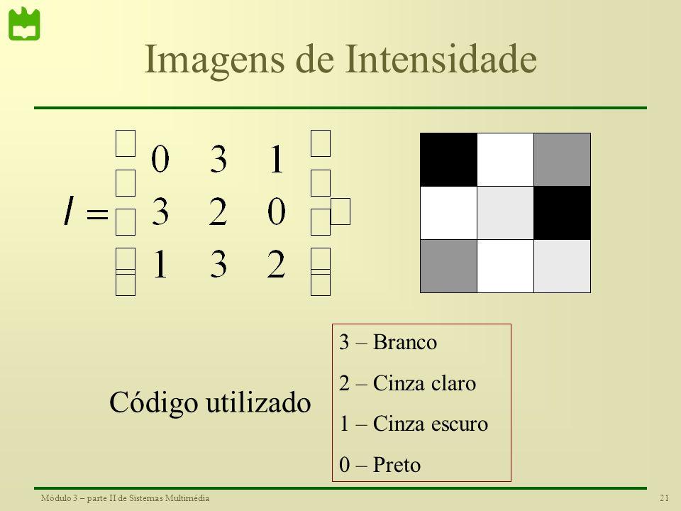 20Módulo 3 – parte II de Sistemas Multimédia Imagens Binárias 1 – Branco 0 - Preto Código utilizado