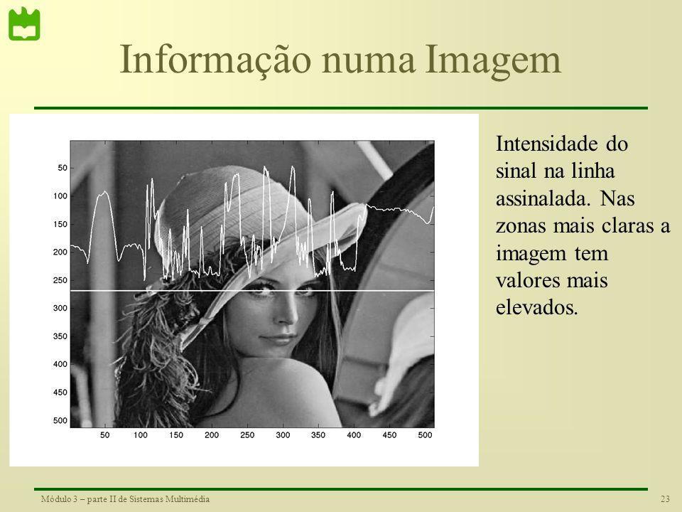 22Módulo 3 – parte II de Sistemas Multimédia Imagens de Intensidade Numa imagem de níveis de cinzento, cada pixel pode ser representado por um byte, t