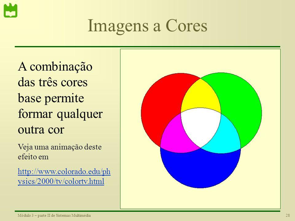 27Módulo 3 – parte II de Sistemas Multimédia Imagens a Cores Nas imagens a cores, cada ponto é composto pelas seguintes cores: Encarnado Verde Azul