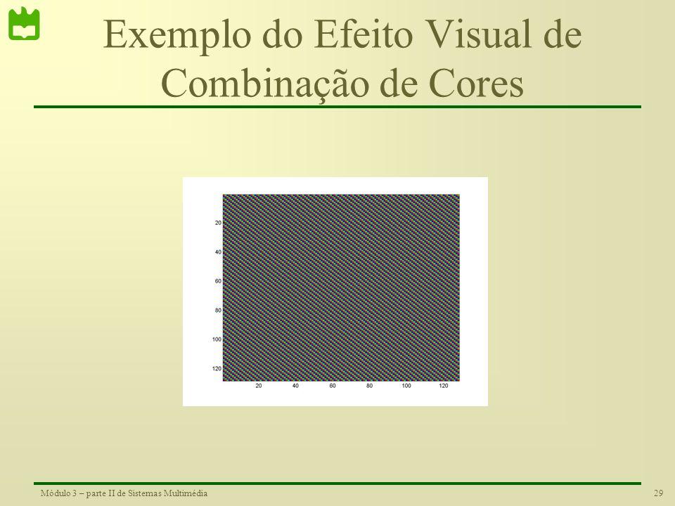 28Módulo 3 – parte II de Sistemas Multimédia Imagens a Cores A combinação das três cores base permite formar qualquer outra cor Veja uma animação dest