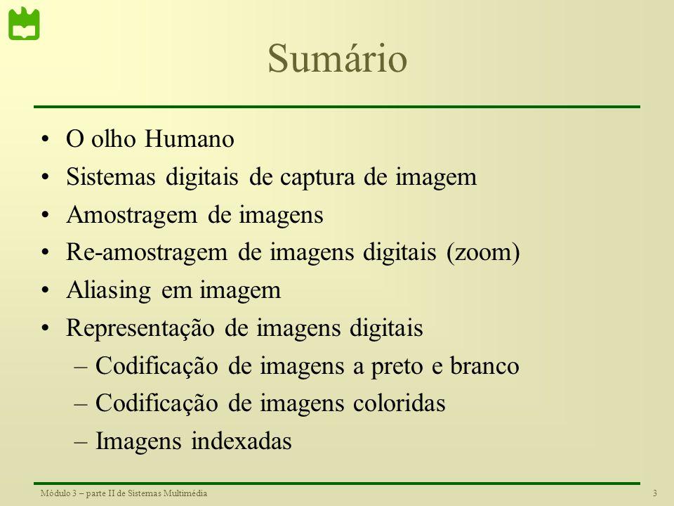 3Módulo 3 – parte II de Sistemas Multimédia Sumário •O olho Humano •Sistemas digitais de captura de imagem •Amostragem de imagens •Re-amostragem de imagens digitais (zoom) •Aliasing em imagem •Representação de imagens digitais –Codificação de imagens a preto e branco –Codificação de imagens coloridas –Imagens indexadas