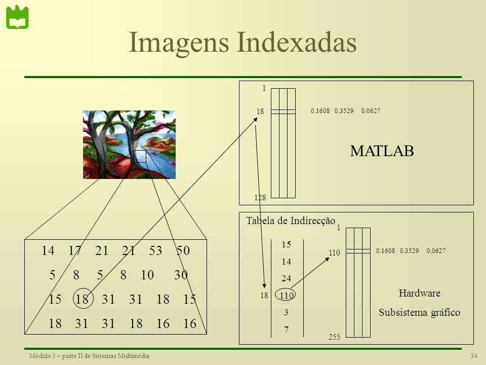 33Módulo 3 – parte II de Sistemas Multimédia Tabelas de cor pré-definidas no Matlab 10 20 30 40 50 60 hsv 10 20 30 40 50 60 jet 10 20 30 40 50 60 pris
