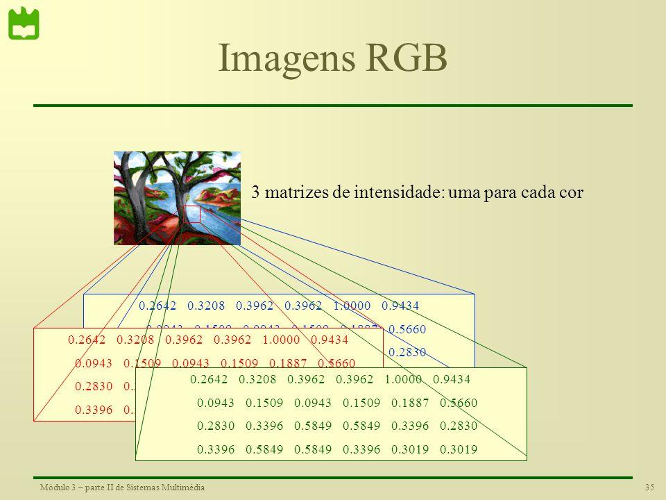 34Módulo 3 – parte II de Sistemas Multimédia Imagens Indexadas 14 17 21 21 53 50 5 8 5 8 10 30 15 18 31 31 18 15 18 31 31 18 16 16 1 128 18 0.1608 0.3